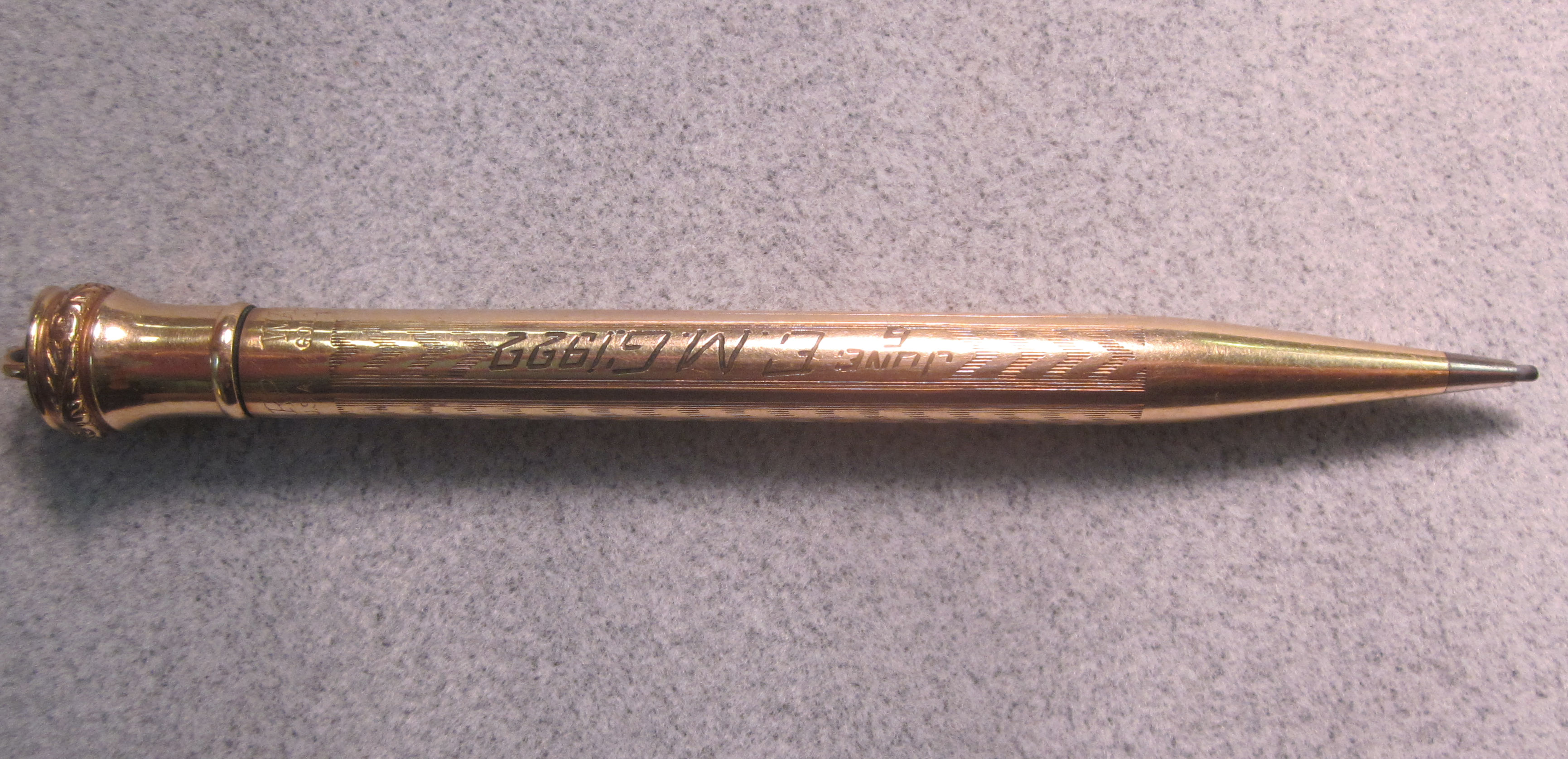 This Mechanical Pencil Is Inscribed With June 6 E M G 1922 It Has A Hanging Loop And Twist Mechanism To Project The Lead