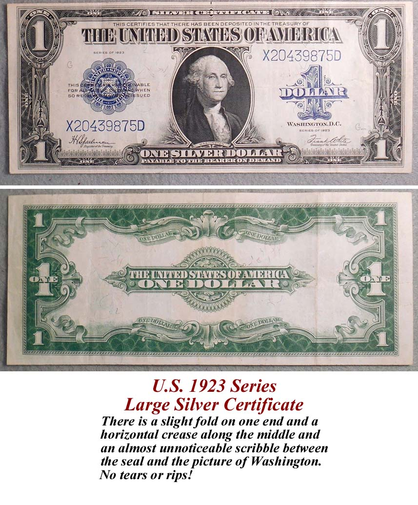 Sgt rikers civil war trading post paper money us 1923 series large silver certificate there is a slight fold on one end and a horizontal crease along the middle and an almost unnoticeable scribble xflitez Images