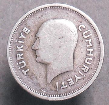 1935 turkey 50 kurus silver coin this coin is in good condition all letters and numbers remain legible though there is a good amount of wear